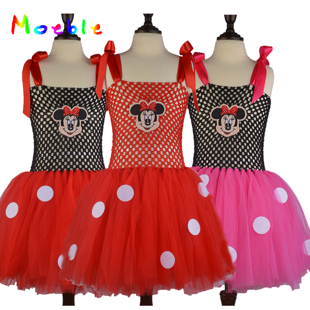 Latest Dotted Baby Girls Cartoon Mouse Tutu Dress For Summer Children Girls KT Tulle Dresses Kids Clothing Party Dress Ball Gown