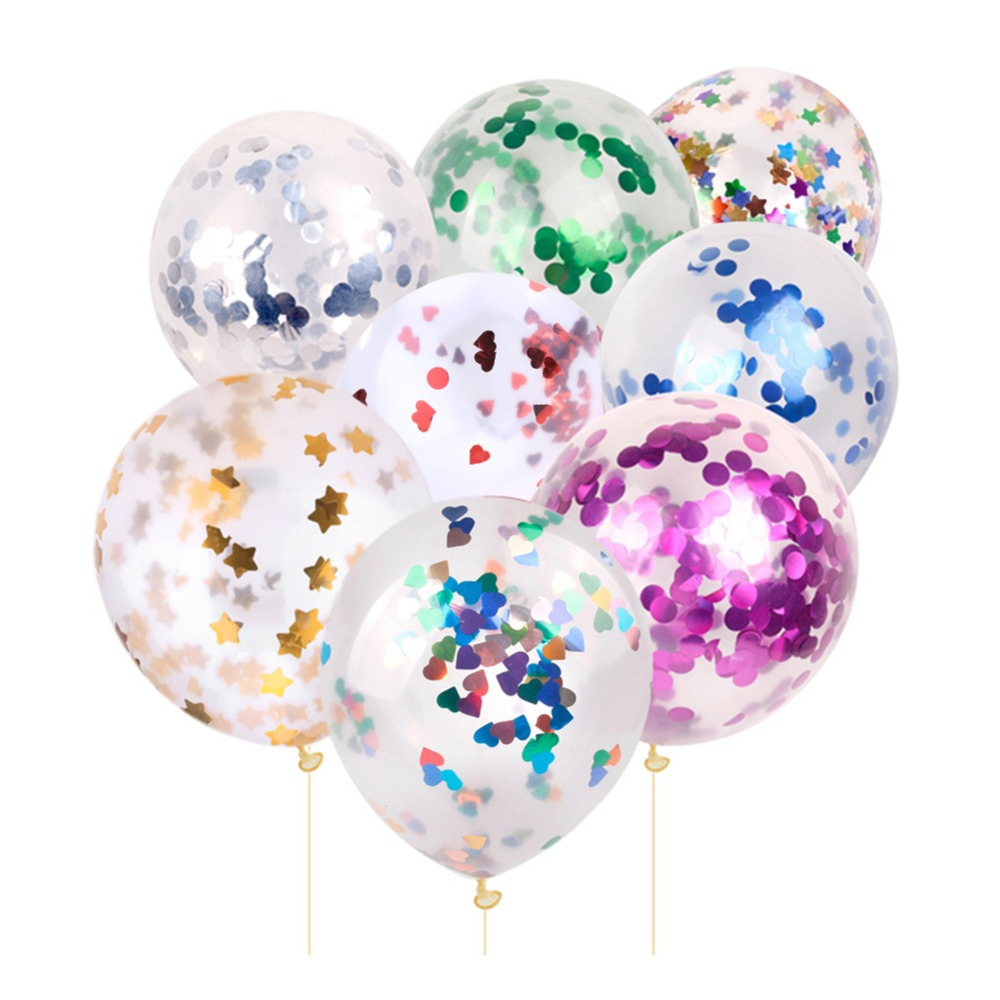 10Pcs 12inch Clear Confetti Balloon Latex Party Balloons for Wedding Decoration Happy Birthday Balloons Party Supplies