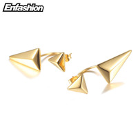 Double Triangle Earring Punk Ear Studs Ear Cuff 18K Rose Gold Earing Stud Earrings For Women