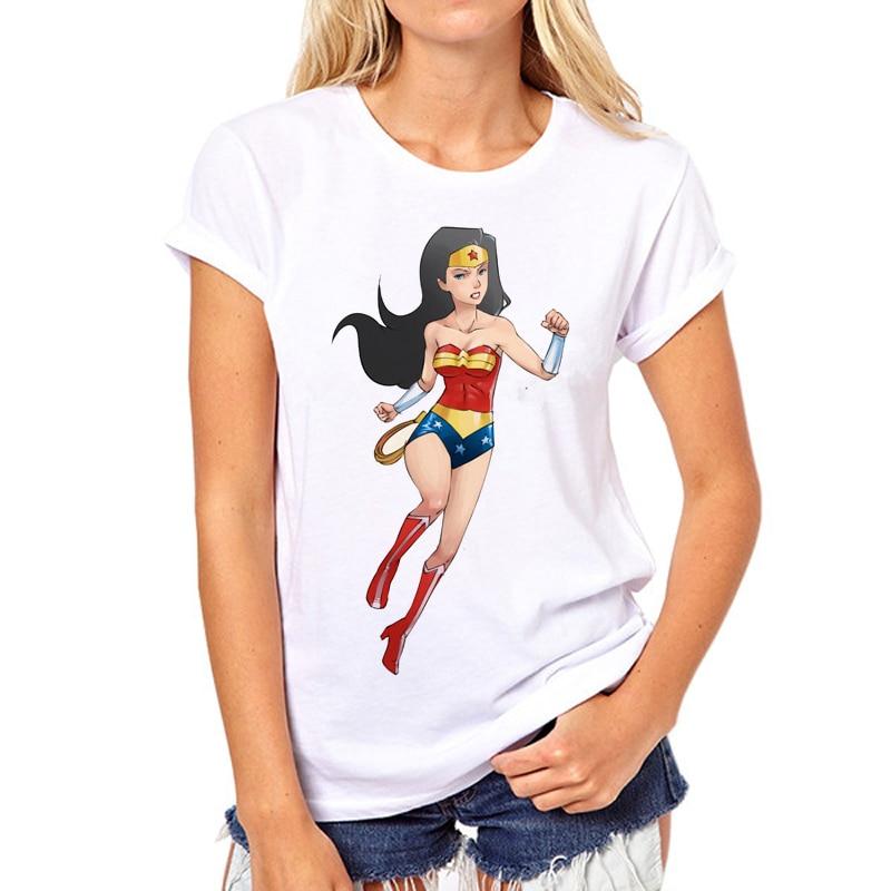 Wonder Woman 2018 модная футболка Для женщин Harajuku одежда Kawaii Топ Hipster чудо Винтаж летняя футболка для девочек N5-4 #
