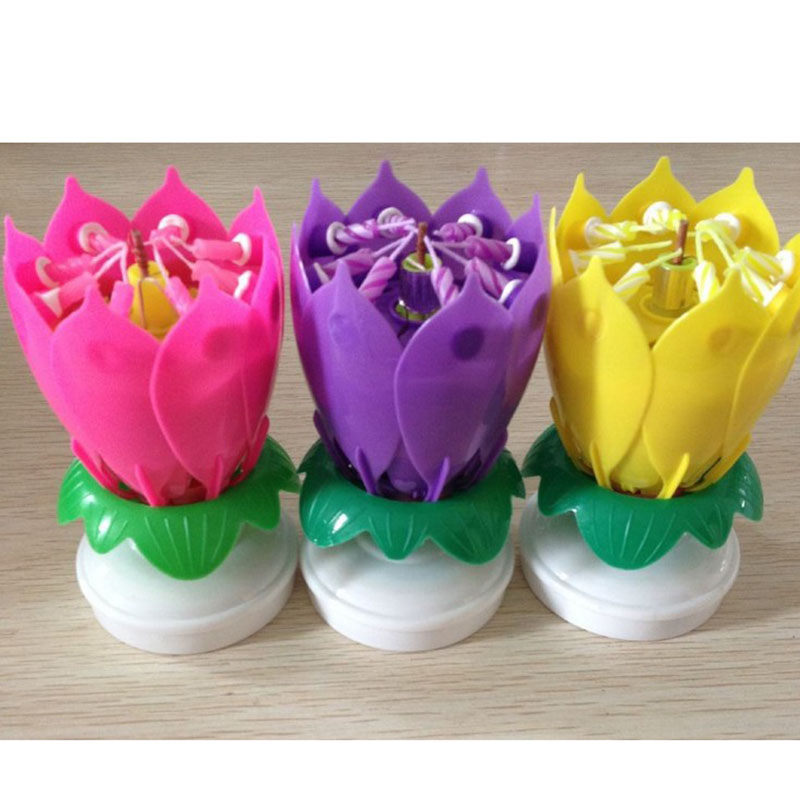 Birthday Candles Beautiful Musical Lotus Flower Happy Party Gift Rotating Lights Decoration Lamp 35 In From Home Garden On