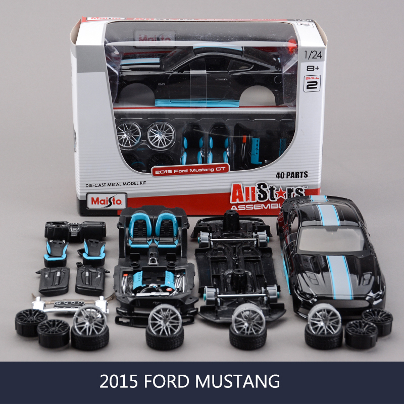 1:24 model Car Mustang 2015 BLACK Muscle Cars 1:24 Alloy Car Metal Vehicle Collectible Models toys For Gift image