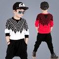 Crianças Meninos conjunto de roupas de outono meninos adolescentes esporte terno Calças Harém impressão miúdos da escola roupas agasalho 4 ~ 13 T meninos roupas