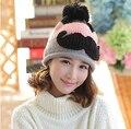 Осень зима цветовой контраст мозаика толстые женщины шляпа мода свободно 3D борода ручной вязаная шапка шапки Cap
