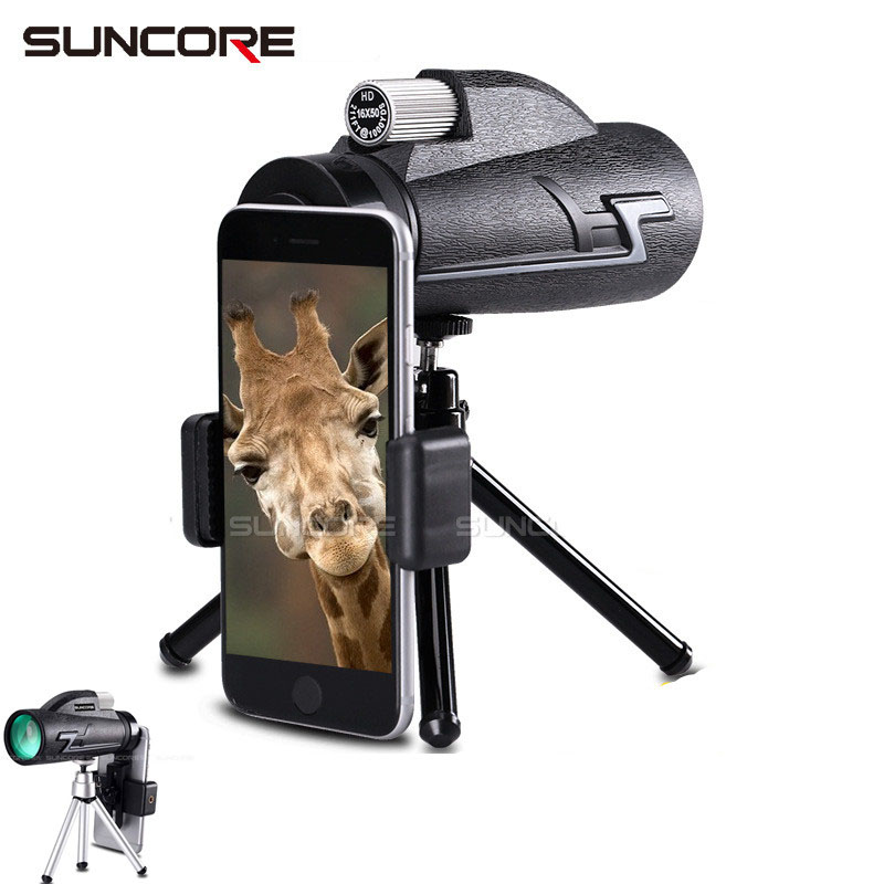 HD Professional Monocular <font><b>16x50</b></font> Telescope Night Vision Spotting Scope <font><b>Binoculars</b></font> Hunting Opera Hiking Spyglass with Phone holder image