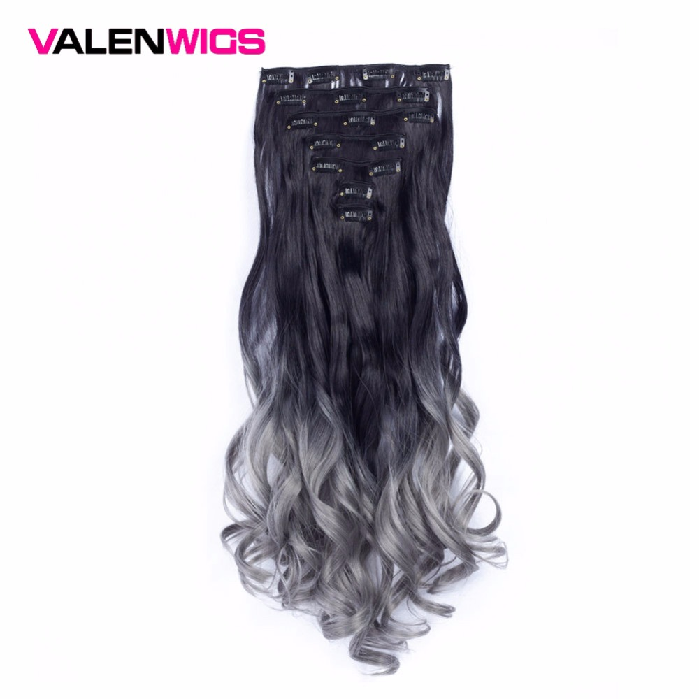Valen Wigs Clip In Hair Extensions Ombre Full Head Clip On Hair Extensions Curly Synthetic HairPieces long 22