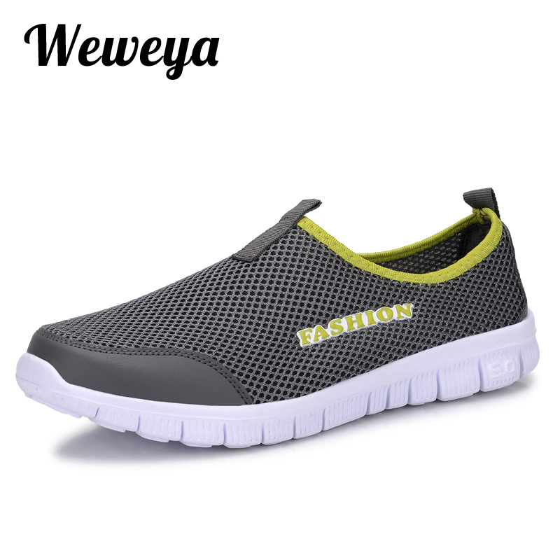 Weweya Summer Mesh Sneakers for Male Slip On Men Casual Shoes Lightweight  Flats Loafers Big Size 34-46 Mans Outdoor Shoes