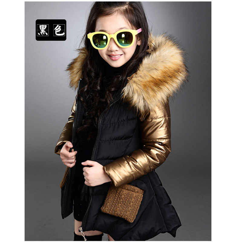 2015 Fashion Girl Parkas Coats Cotton Padded Clothes Winter Children Outerwear Coats Princess Duck Down Fur Collar Girls Jacket children winter coats jacket baby boys warm outerwear thickening outdoors kids snow proof coat parkas cotton padded clothes