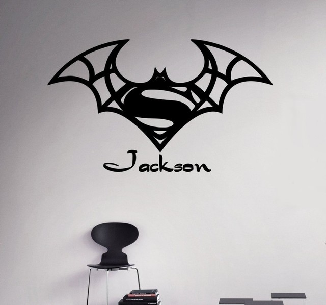 New Arrival Custom Names Wall Decal Batman Superman Vinyl Sticker  Personalized Decals Home Decor Removable Decor