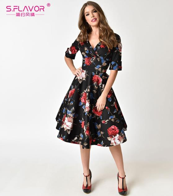 V Neck Casual Autumn Party Vestidos Women Floral Print Vintage Dress Half Sleeve Lady Dresses No Pocket