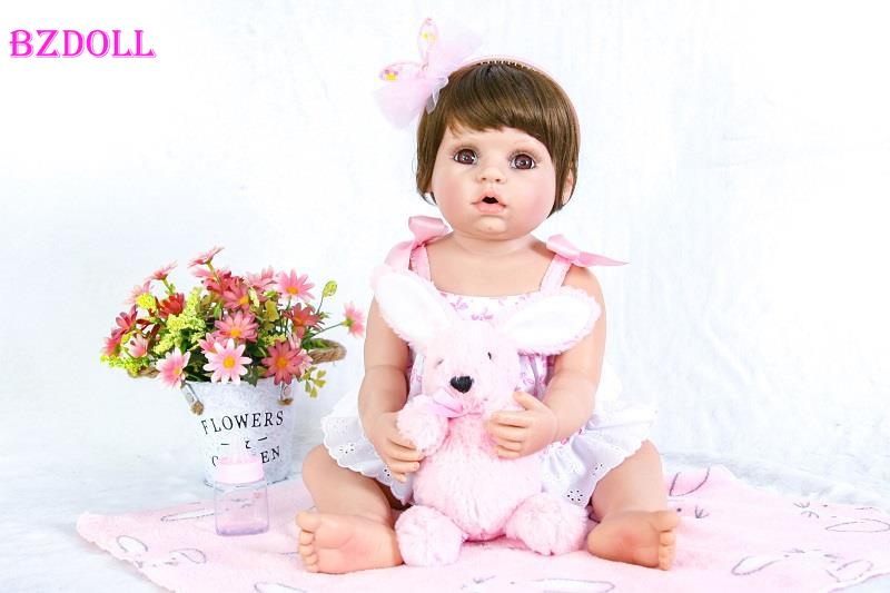 55cm Full Silicone Reborn Baby Doll Toy For Girl Boneca 22inch Vinyl Princess Newborn Babies With