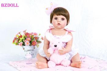 55 cm de silicona bebé Reborn juguete muñeca para niña Boneca de 22 pulgadas de vinilo de la princesa de los bebés recién nacidos con conejo cumpleaños regalo de baño de juguete
