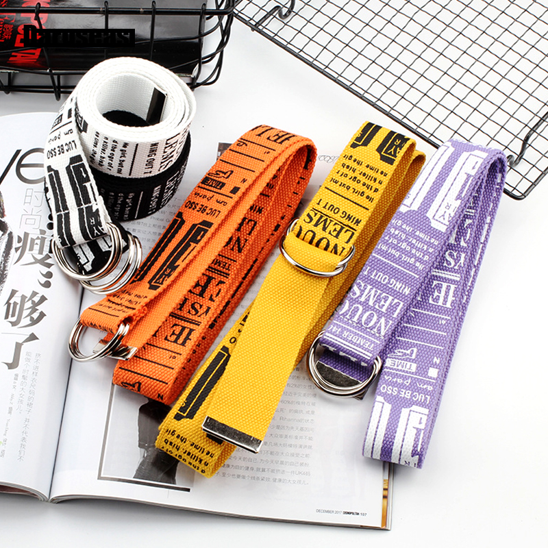 Canvas   Belt   Korean version fashion Lengthen canvas   belt   Literary style Unisex student   Belt   trend D Ring Double Buckle   belt
