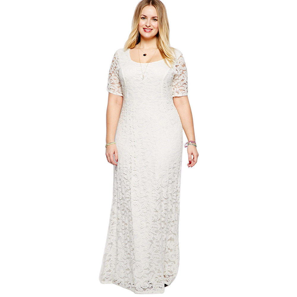 Long Sleeve White Lace Bodice Chiffon Skirt Elegant Simple: Elegant Women Simple White Lace Plus Size 4XL 5XL Long