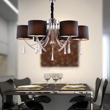 Modern Minimalist K9 Crystal Chandelier Living Room Study Dinning Room Black Fabric Shade Chandelier with 6 Lights Dia 80cm