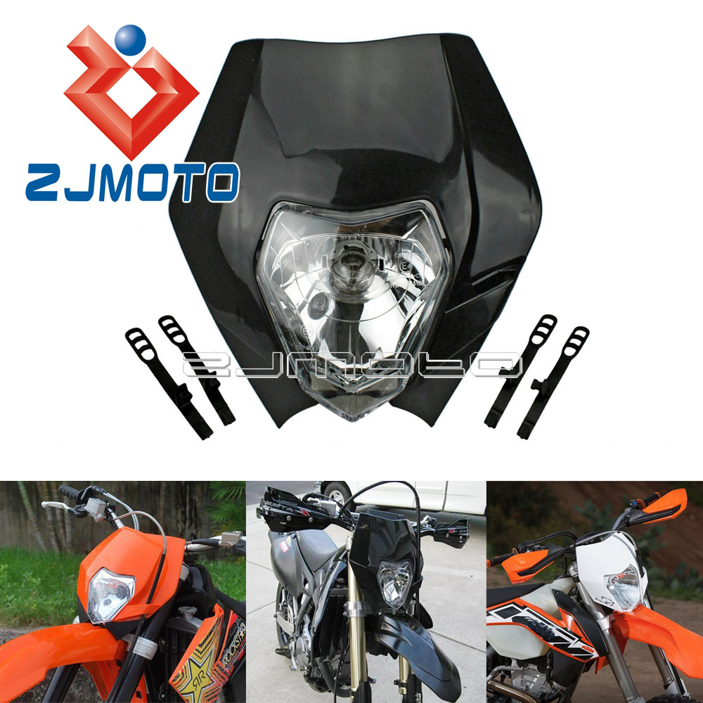 Universal Dirt Bike Motocross Headlamp Mask <font><b>Enduro</b></font> Headlight Fairing For Yamaha KTM EXC XC MXC WR YZ TTR 125 <font><b>250</b></font> 450 525 530 image