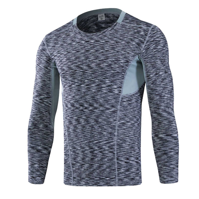Camiseta deportiva de manga larga de marca para hombre, Camiseta de deporte de secado rápido, transpirable, Fitness, gimnasio, camiseta para hombre, ropa de Yoga, camisa de compresión