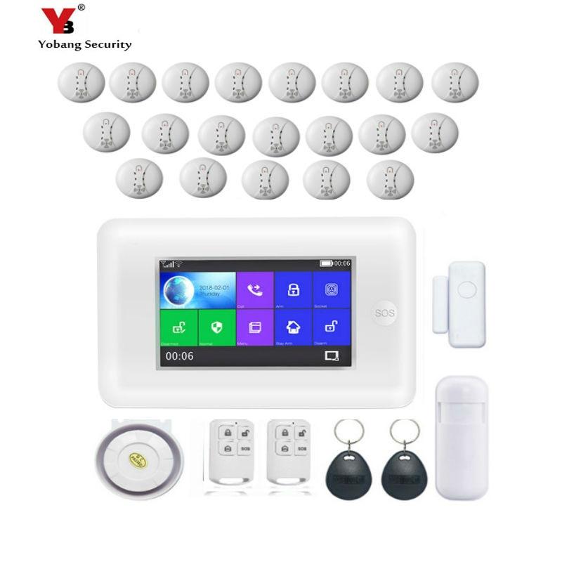 все цены на YobangSecurity Wireless 433Mhz Touch Screen Wifi GSM GPRS RFID Home Office Security Burglar Alarm Smoke Fire Sensor Alarm System онлайн