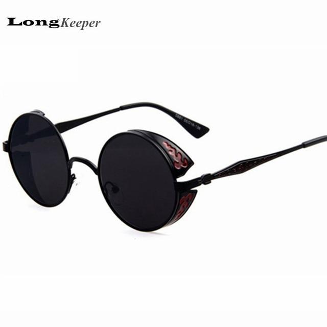 Punk Visor Circle Lens Round Retro Sunglasses vintage lenses sun glasses Outside oculos Steampunk goggles Fashion lentes de sol
