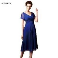 Empire V neck Cap Sleeve Tea Length Mother Of The Bride Dresses Simple Blue Chiffon Wedding Party Gowns Women CM025
