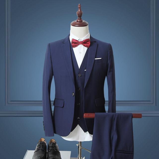 2016 mans plus size 3 peça terno Inglaterra cavalheiro business casual ternos de casamento Europa slim fit blazer + calça azul + colete conjuntos