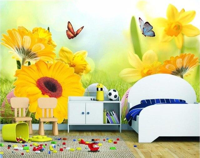 Foto Personalizada 3d Papel Pintado Mural Girasol Mariposa Pintura