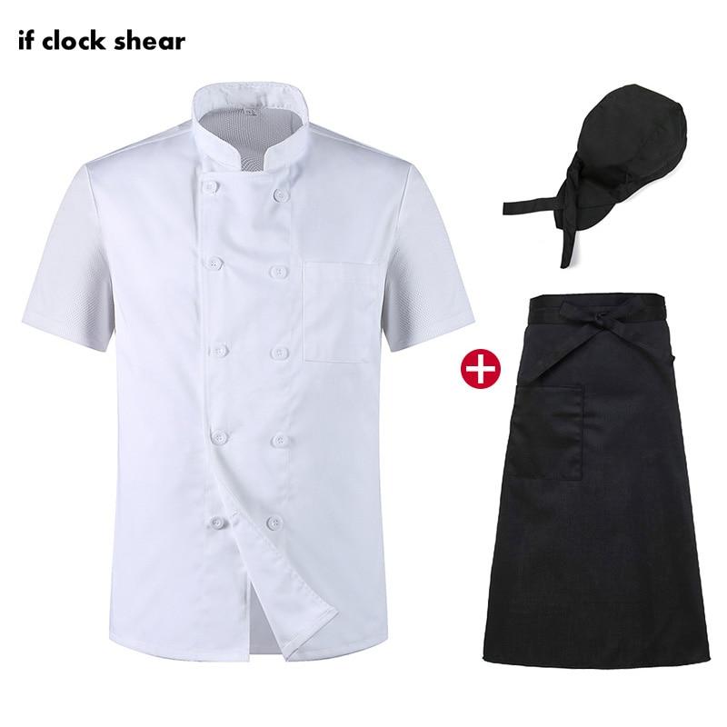 Chef Restaurant Uniform Short Sleeve Unisex Chef Shirt Hotel Kitchen Clothes Breathable Thin Workwear Jacket + Hat +Apron Summer