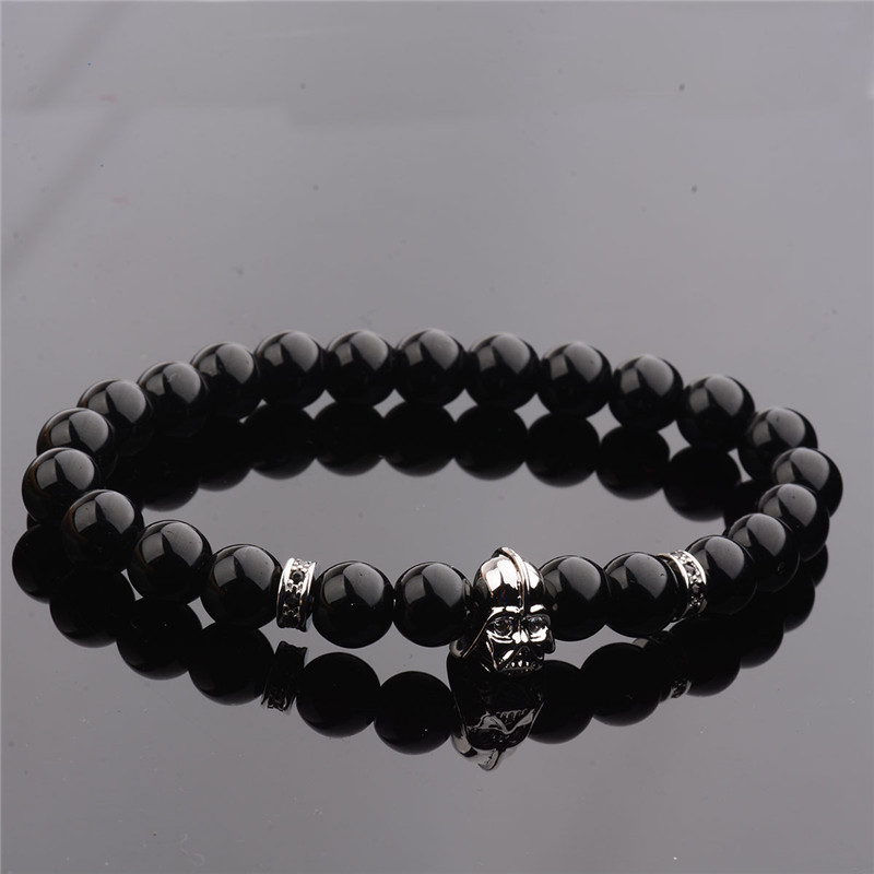 DOUVEI 17 New Charm Mens Star Wars Darth Vader CZ Beaded Bracelets 8mm Bright Black Lava Stone AB1012 5