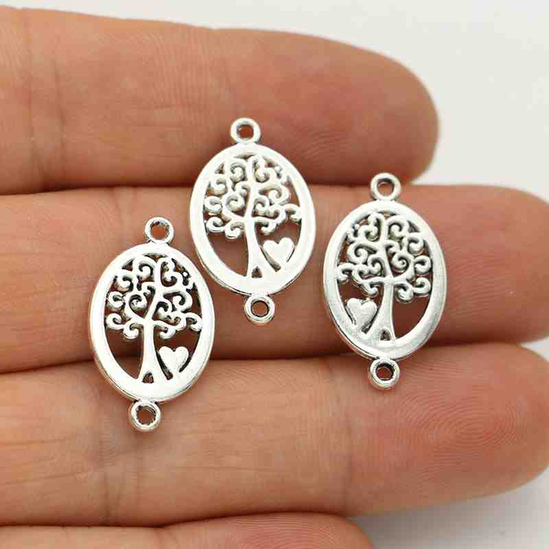 JAKONGO Antique Silver Plated Tree Of Life Charm Connectors For Making Bracelet Handmade DIY Jewelry Accessories 23x14mm 10pcs