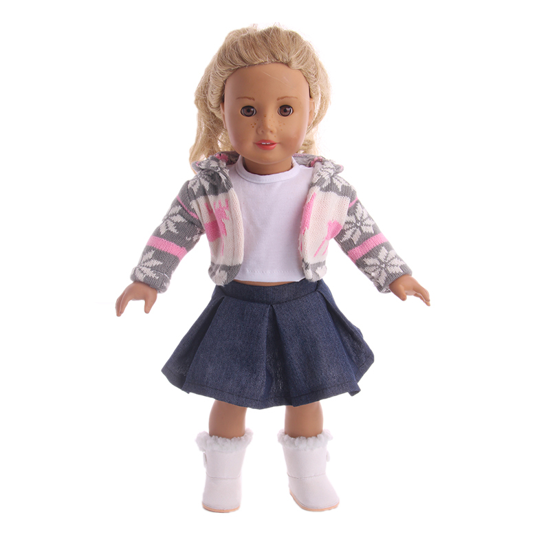 Doll Clothes 3pcs T-shirt + skirt + sweater coat Suit for 18 inch American Girl Doll&43cm New Born Baby stylish hooded long sleeve drawstring mid length jeans coat for women