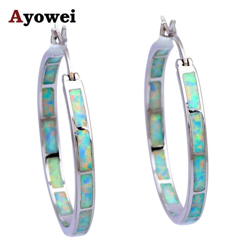 Vysoce kvalitní velké obručové náušnice pro ženy White Fire Opal Silver Stamped Velkoobchod Módní šperky Opal šperky OES536A