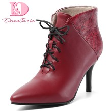 Doratasia 2019 Dropship Large Size 30-48 Elegant Boots Woman Shoes Thin High Heels Shoelaces Ankle Boots Women Shoes Woman(China)