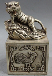 7 Chinese Zilver Imperial Lucky tiger Ox snake Kok dier Standbeeld Seal Stempel S0706