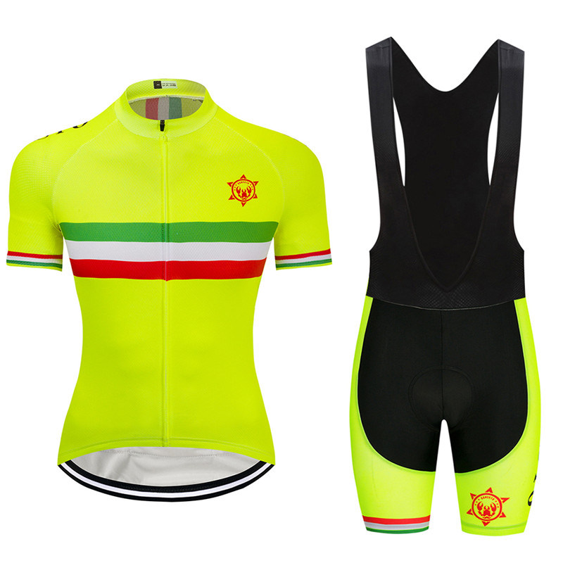 2018 Fluorescent yellow champion Cycling Jersey 9D GEL Pad Bike Shorts MTB  Men s Cycling Clothing summer bike wear maillot 652fd5217