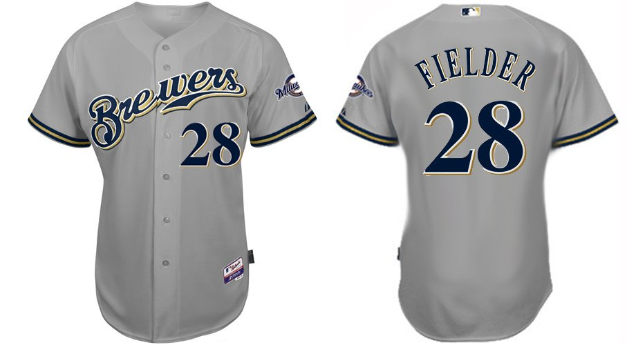 milwaukee 28 amp; Baseball Paypal-in Us Shipping On Jerseys Prince Jersey 88 Free Sports 37 Brewers Grey From Fielder Entertainment
