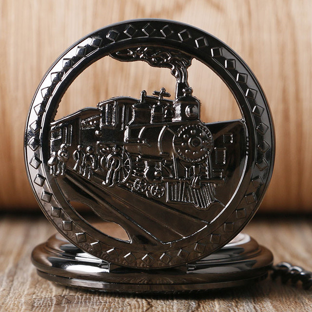 Train Mechanical Pocket Watch Hollow Running Steam Locomotive Carving Fob Chain Antique Clock Unique Birthday Gift for Boys
