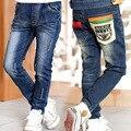 2017 Barnd Crianças Roupa Da Criança Calça Jeans Calças Jeans Crianças Calças Crianças Imprimir Calças Compridas 4-9-12 Anos meninos Roupas de Bebê