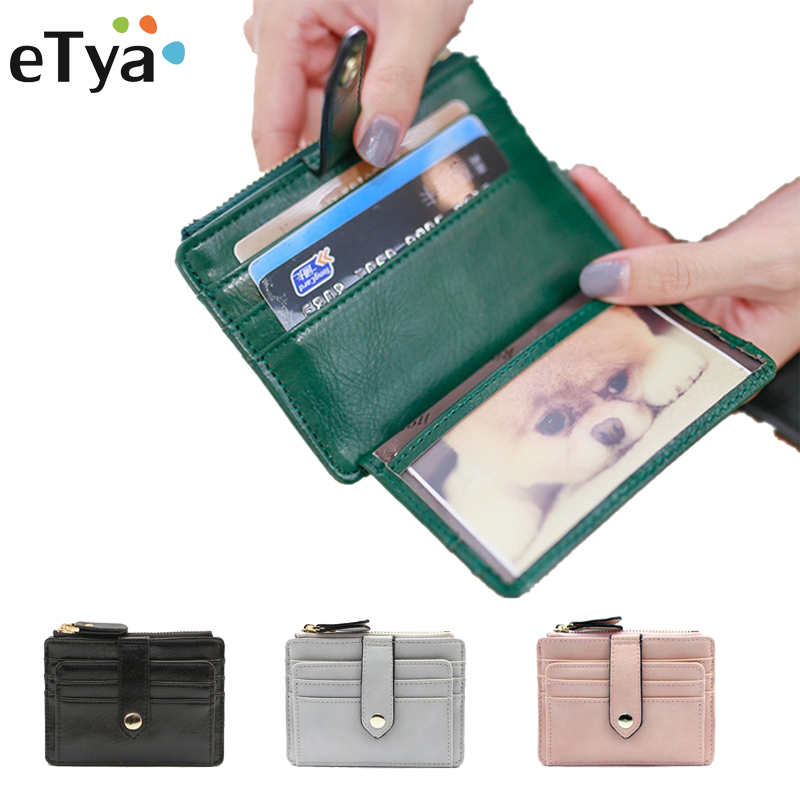 eTya Fashion Pu Leather Small ID Business Card Case Portable Coin Purse Wallet Credit Card Holder for Women Slim Thin Style