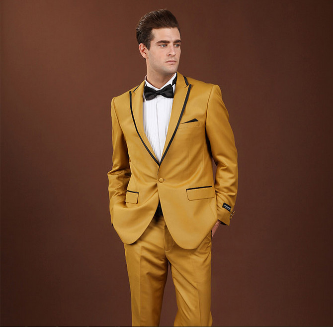 New Arrival One Button Gold Yellow Groom Tuxedos Groomsmen Men's ...