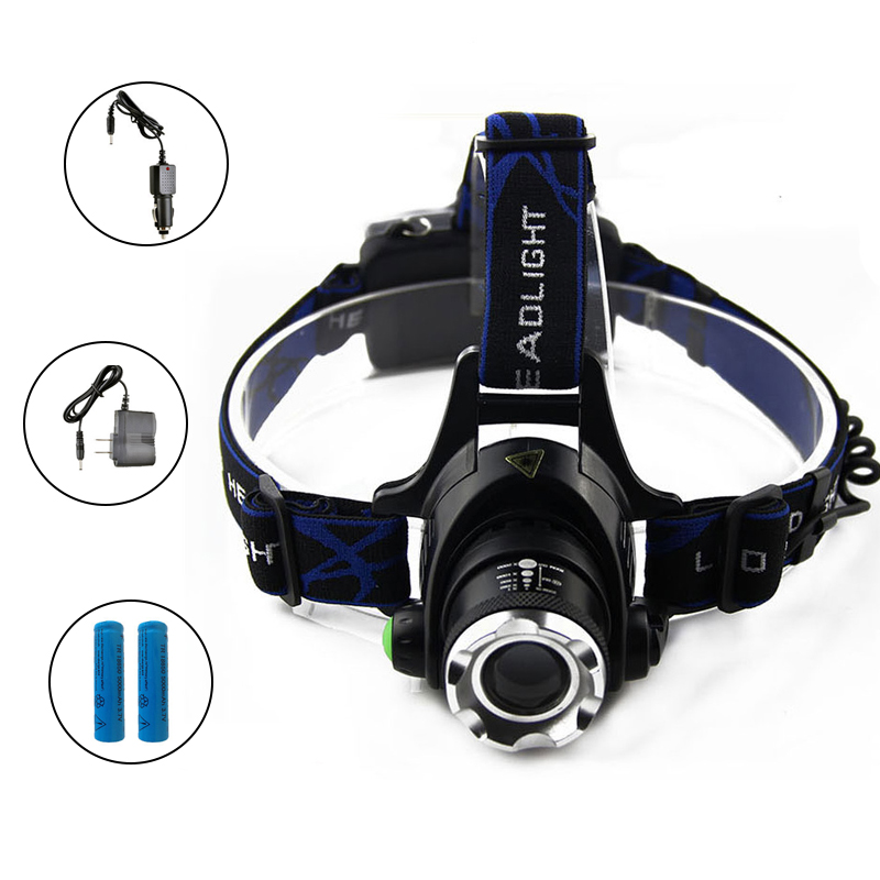 6000LM LED Headlamp Cree XM-L T6 Zoomable Head Light Focus rechargeable Headlamps Headlights Lamp Waterproof Head Torch