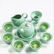 Чайный набор включает 1 горшок и 6 чашек, Цзиндэчжэнь целадон рыбы кунг-фу, красивый и легкий чайник