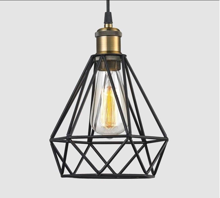Diamond sharp black retro edison vintage edison cage lights ,wire lamp cage,DIY lampshade,Industrial lamp guard cage lampshade