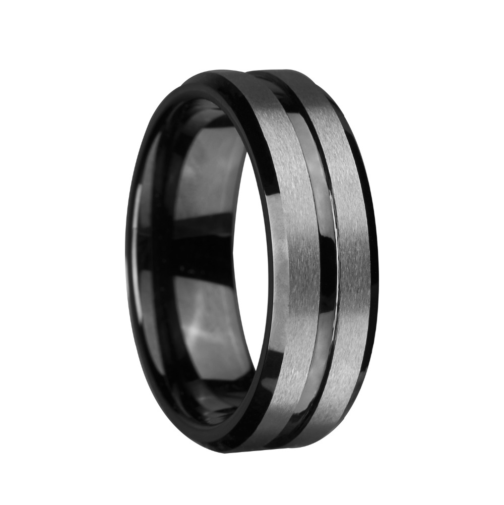 8mm Black Tungsten Ring Silver Brushed and Black Stripe Wedding Bands Promise Ring Engagement Fashion Jewelry