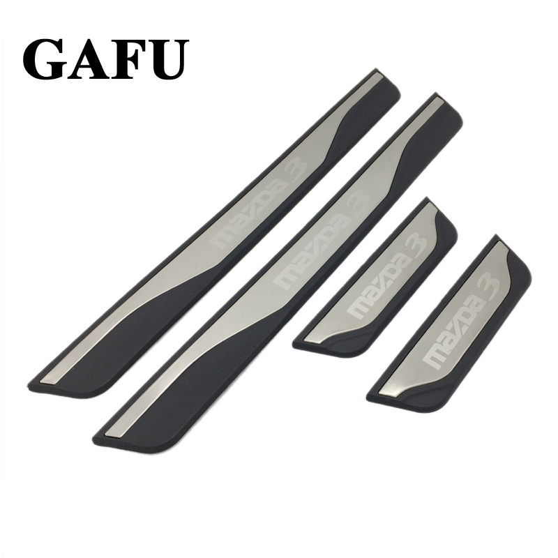 For Mazda 3 Axela 2014 2015 2016 2017 2018 Accessories Door Sill Scuff Plate Guards Door Sills Protector car-styling 4pcs 2x cool led dynamic car door sill scuff plate guard sills protector trim for peugeot 4008 from 2012 2015 car styling
