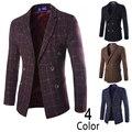 Bleiser masculino blaser tartán de la manera estilo Europeo de gama alta de los hombres de lana cruzado chaqueta de traje de los hombres