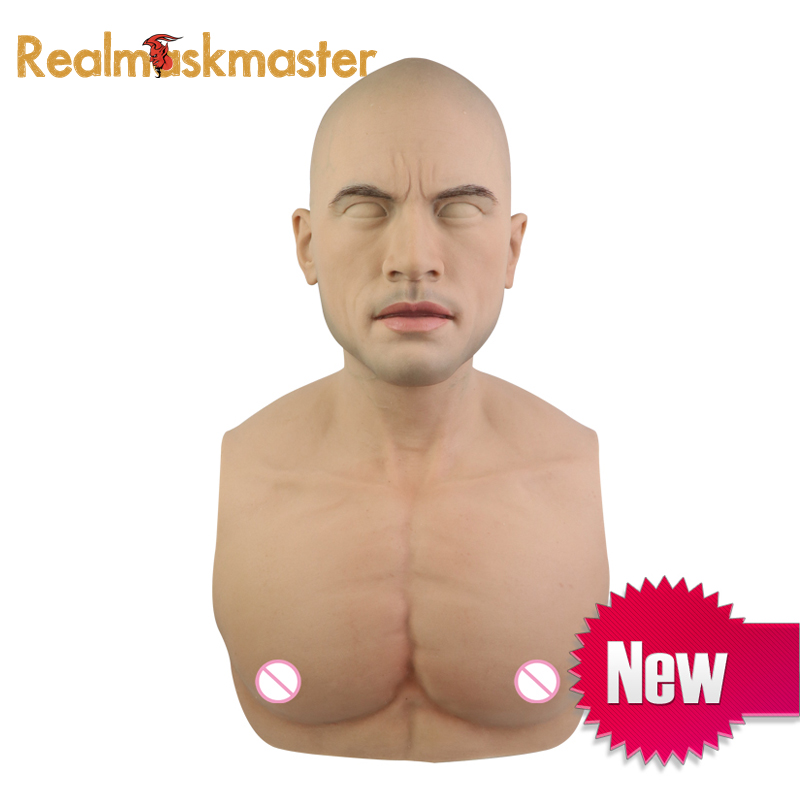 Realmaskmaster disfarçado masculino de látex halloween máscara de silicone realista artificial adulto rosto cheio máscara cosplay para o partido