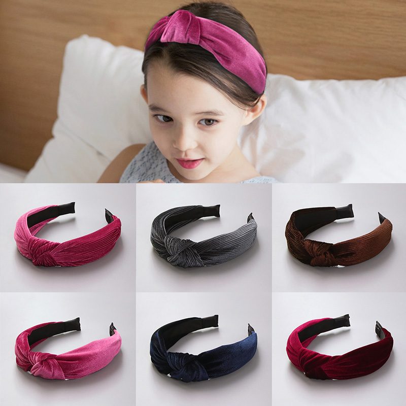 New 2017 Winter Girls Colorful Nylon Velvet Knot Headband Hair Holder Ornament Children Hairband Hair Accessories Kids Hair Band metting joura vintage bohemian ethnic tribal flower print stone handmade elastic headband hair band design hair accessories