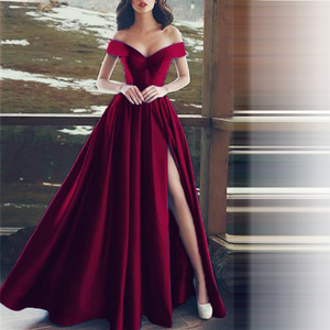 Image 1 - Elegant Evening Dresses Sweetheart Satin Boat Neck Evening Gowns Long Party Gowns Side Split Robe De Soiree Sexy Formal Dresses