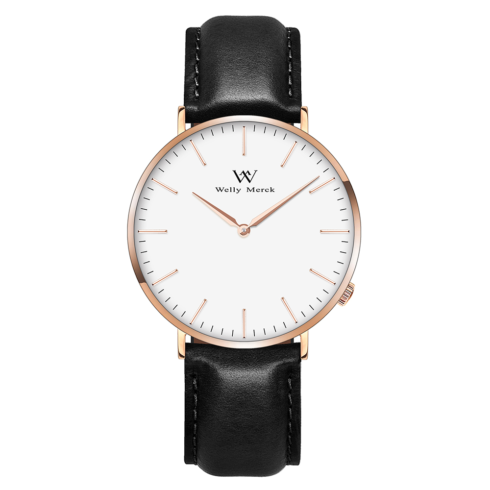 Welly Merck Men Simple Casual Watch with 20mm Italy Genuine Leather Interchangeable Black Strap