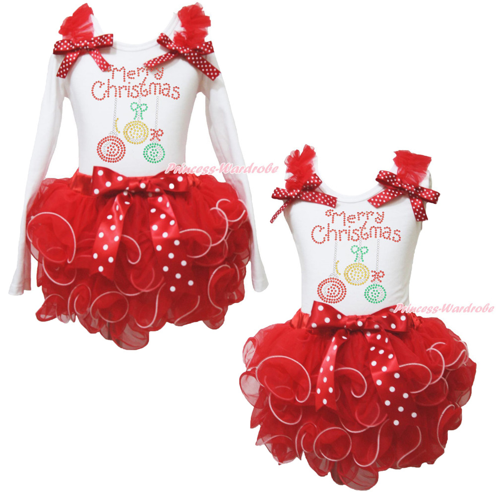 Merry Christmas Lighting White Top Red Petal Pettiskirt Skirt Girls Outfit NB-8Y цены онлайн